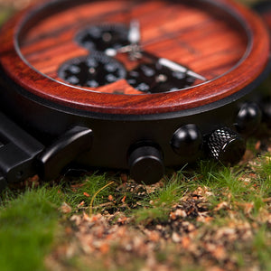 Luxury Stylish Wood Quartz Watch In Chronograph Military Style