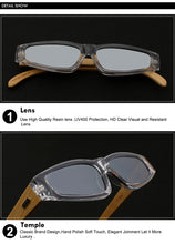 Load image into Gallery viewer, Retro Vintage Designer Bamboo Square Sunglasses
