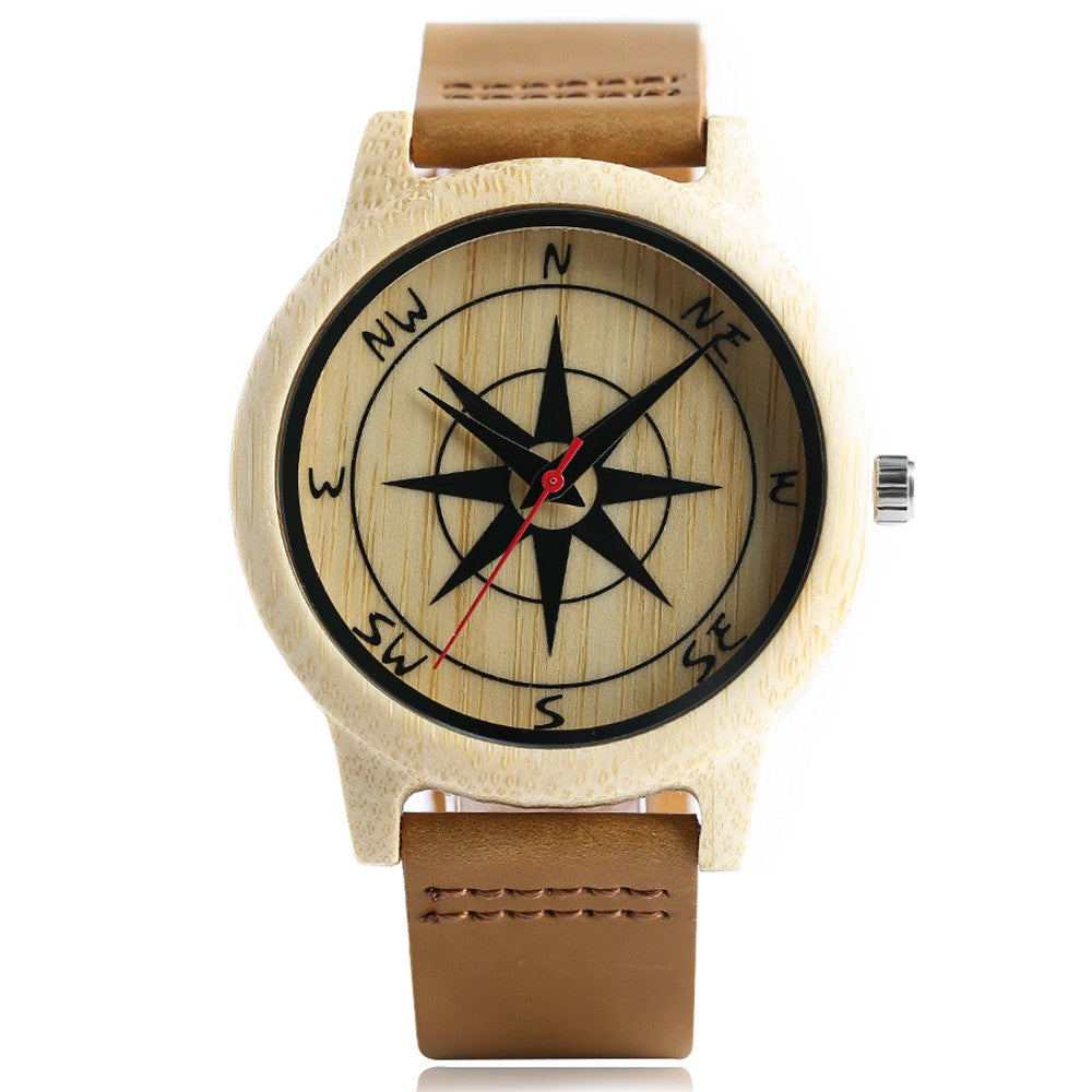 Handcrafted Wood Watch With Compass Face