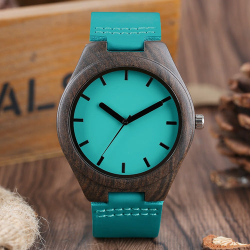 Natural Sandalwood Handcrafted Bamboo Watch With Blue Leather Strap