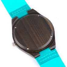 Load image into Gallery viewer, Natural Sandalwood Handcrafted Bamboo Watch With Blue Leather Strap