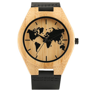Handmade Bamboo Quartz Fashion Watch With Worldview And Leather Strap