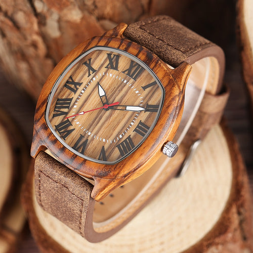 Handcrafted Wood Quartz Watch With Shaped Face