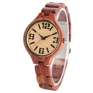 Handcrafted Sandalwood Women's Quartz Watch With Wood Bracelet