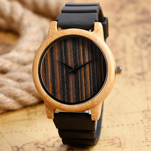 Handcrafted Bamboo Wristwatch With Black Silicone Strap