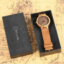Load image into Gallery viewer, Men's Natural Bamboo Handcrafted Wood Watch With Genuine Leather Strap