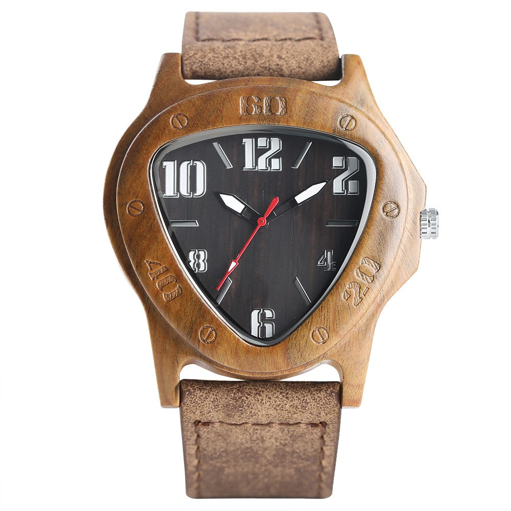 Handcrafted Bamboo Quartz Watch With Black Face