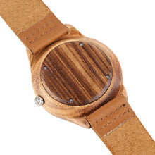Load image into Gallery viewer, Creative Men's Quartz Bamboo Watch Bamboo With Brown Strap