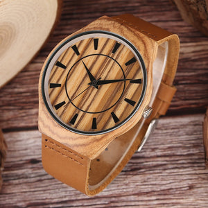 Creative Men's Quartz Bamboo Watch Bamboo With Brown Strap