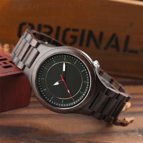 Business Style Handcrafted Ebony/Bamboo Quartz Wrist Watch