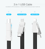 3 in 1 Mini Keychain USB Cable Micro USB Type C For iPhone iPod