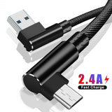 Micro USB 90 Degree elbow Nylon Braide Fast Charging Charger Data cable