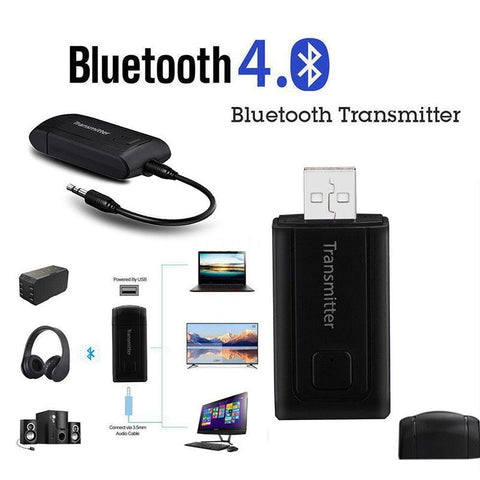 Bluetooth V4 Transmitter Wireless A2DP 3.5mm Stereo Audio Music Adapter