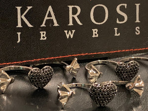 Karosi Jewels signature ring -Black cz - Adjustable