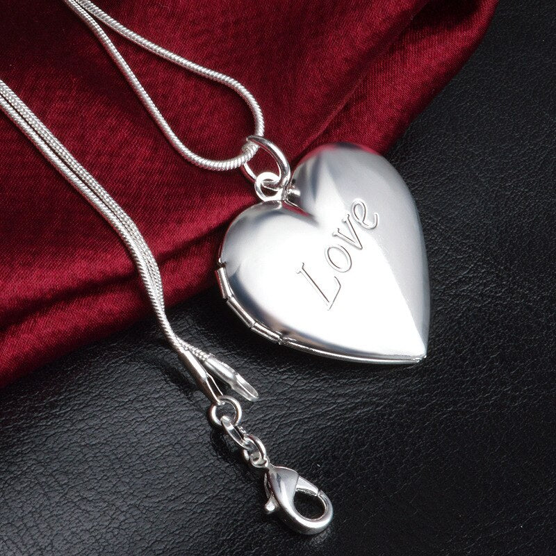 Heart Sterling Silver Locket necklace filled with  love fume solid perfume + extra Love fume 20g