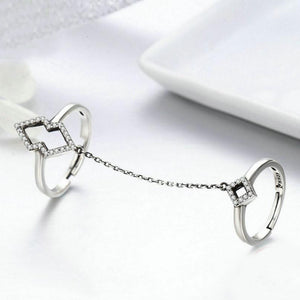 925 Sterling Silver double finger ring white gold plating