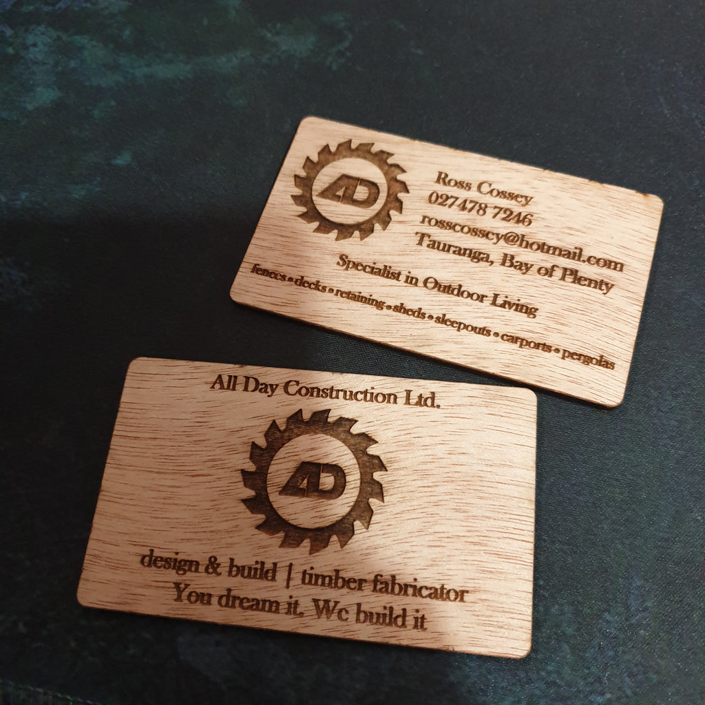 Engraved wooden business cards - TroubleMaker.co.nz
