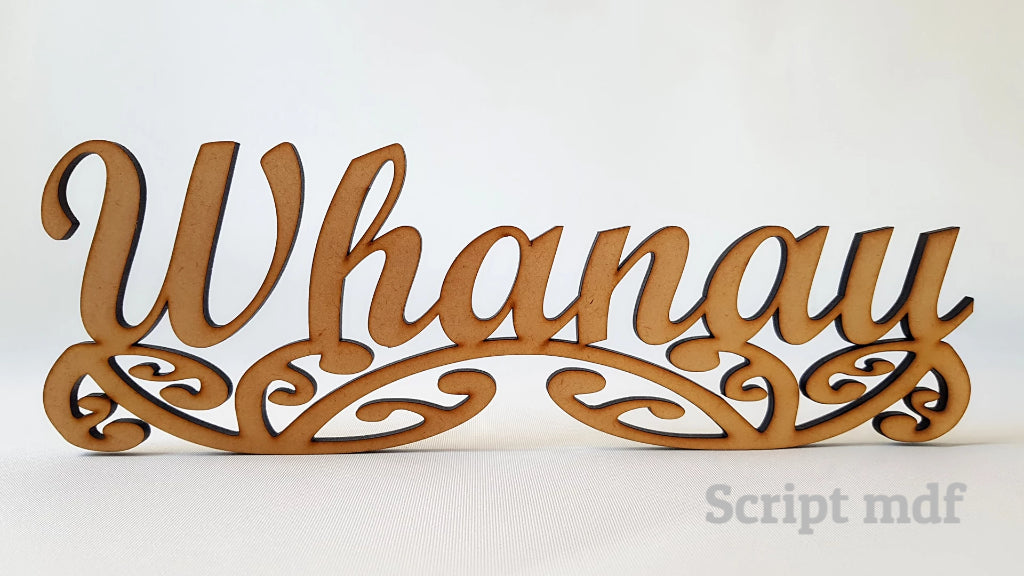 Whanau sign art, carved of wood - TroubleMaker.co.nz