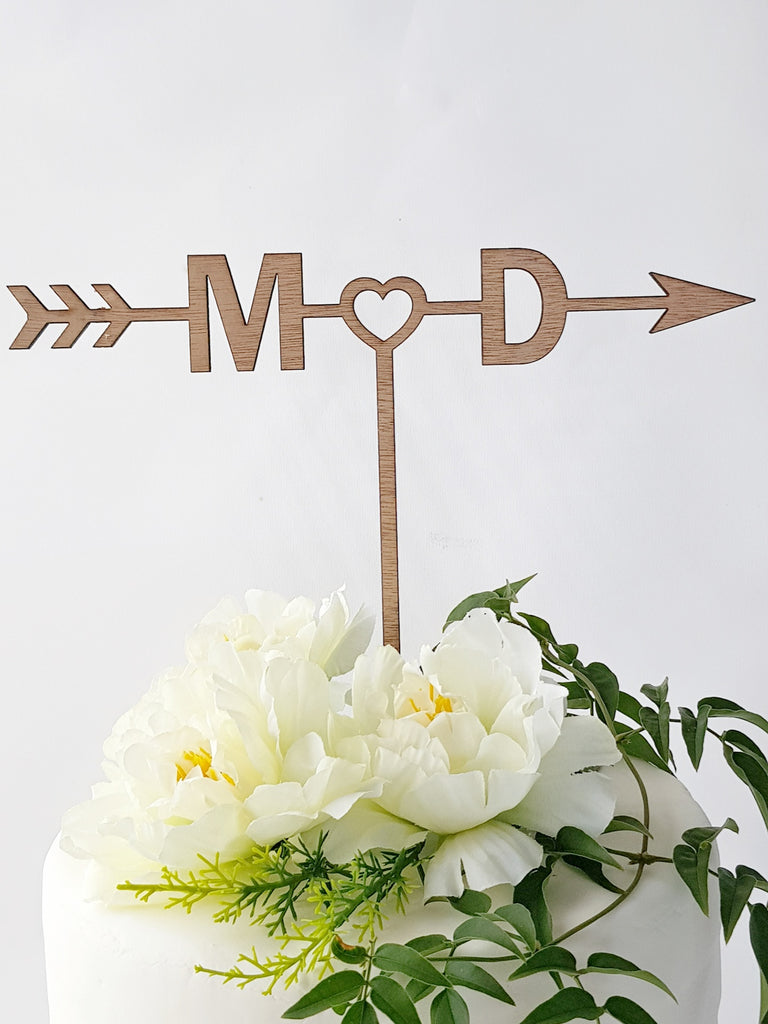Engagement and Wedding cake topper, Personalized Initials, arrow of love - TroubleMaker.co.nz