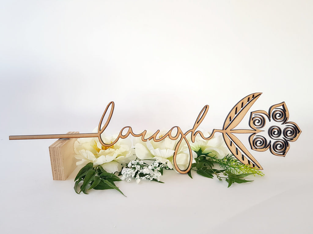 Wooden Flower Message Sign Art - TroubleMaker.co.nz