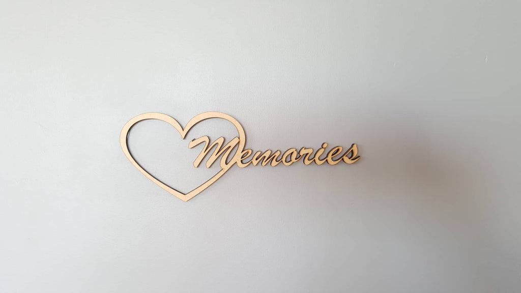 Memories sign art, carved of wood - TroubleMaker.co.nz
