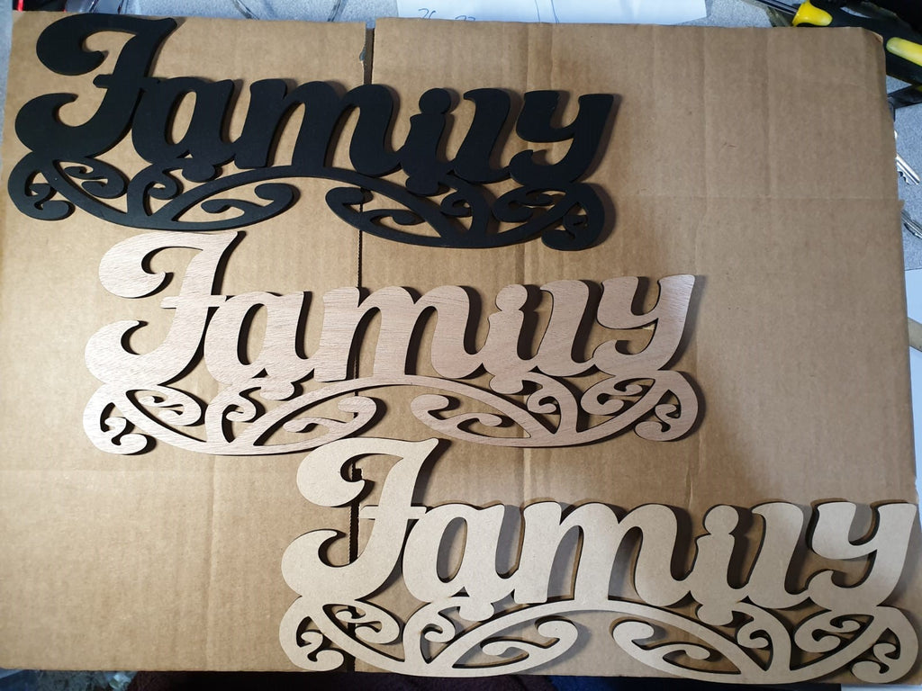 Family sign art, wood - TroubleMaker.co.nz