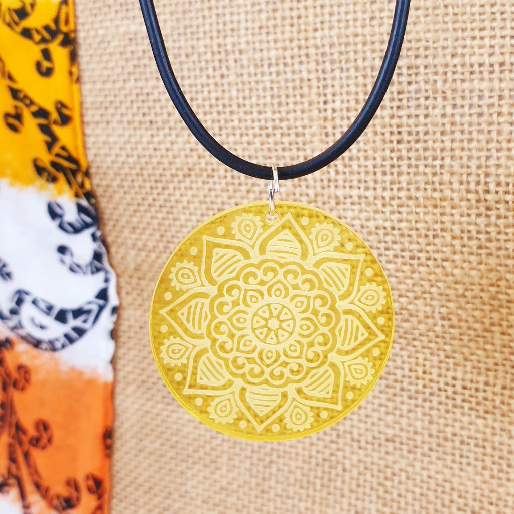 Mandala Necklace - Balance Gratitude Abundance - TroubleMaker.co.nz