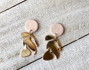Clover and Coast Floral Blush Stud Clay Earrings cac-11