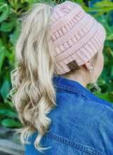 Load image into Gallery viewer, Assorted C.C. Beanie Knit Messy Bun Beanie MB-20A