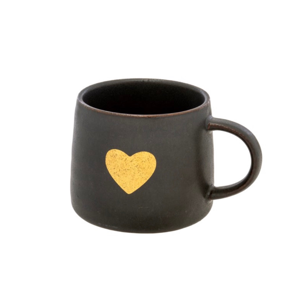 Black Gold Heart Mug 4-8607
