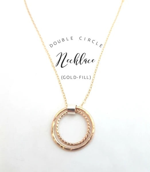 Monark Jewellery Gold Double Circle Necklace MJ-40GCN