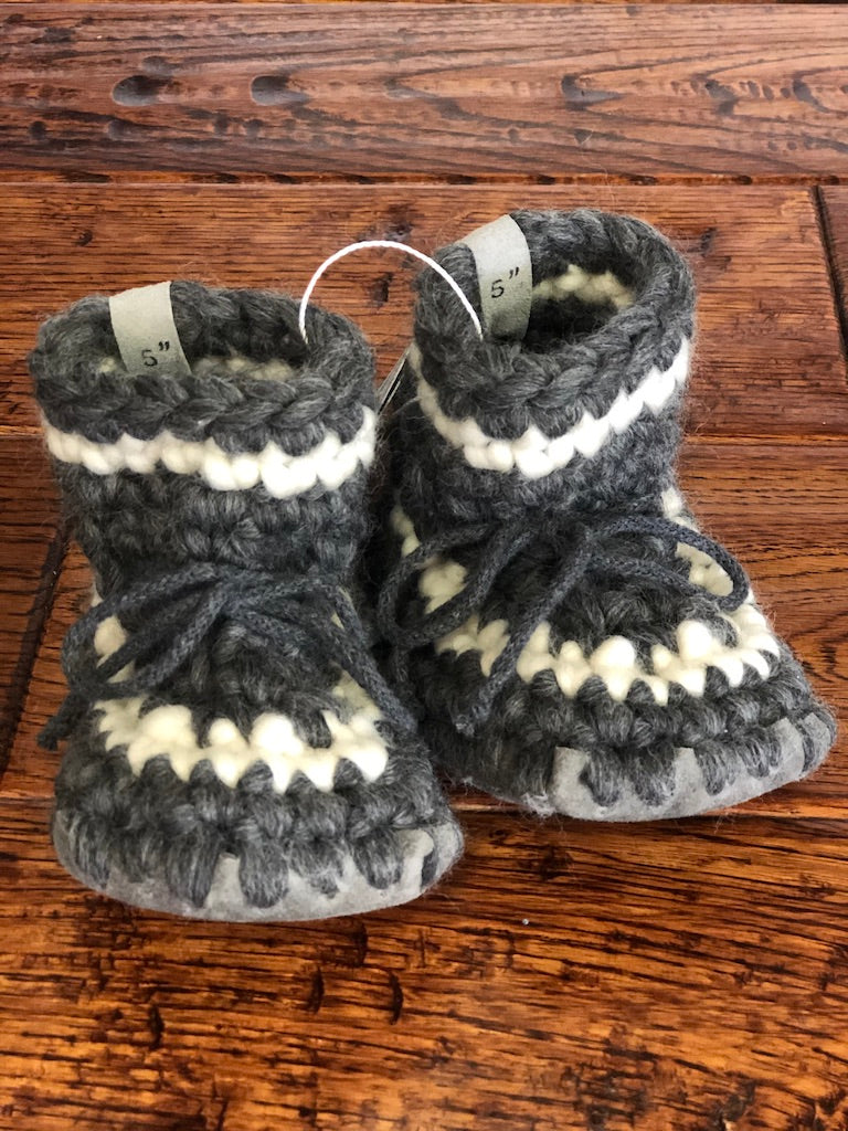 Charcoal and Cream Raigs Wool Baby Booties
