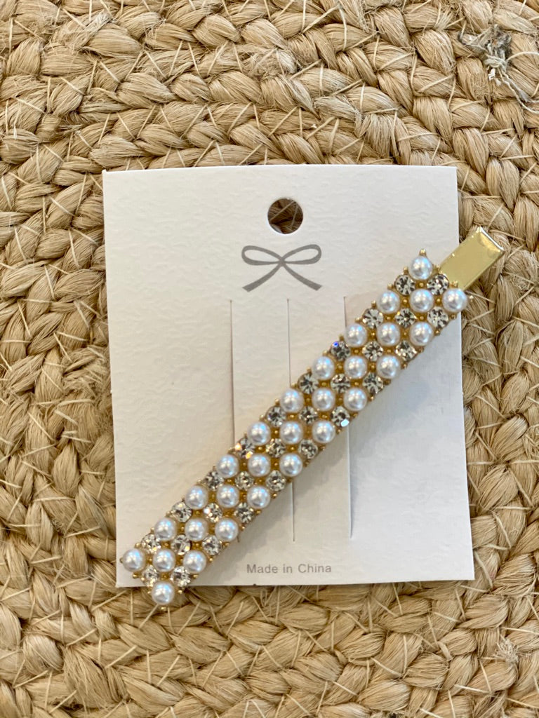 Single Pearl and Cubic Zirconia Hair Clip HC-0