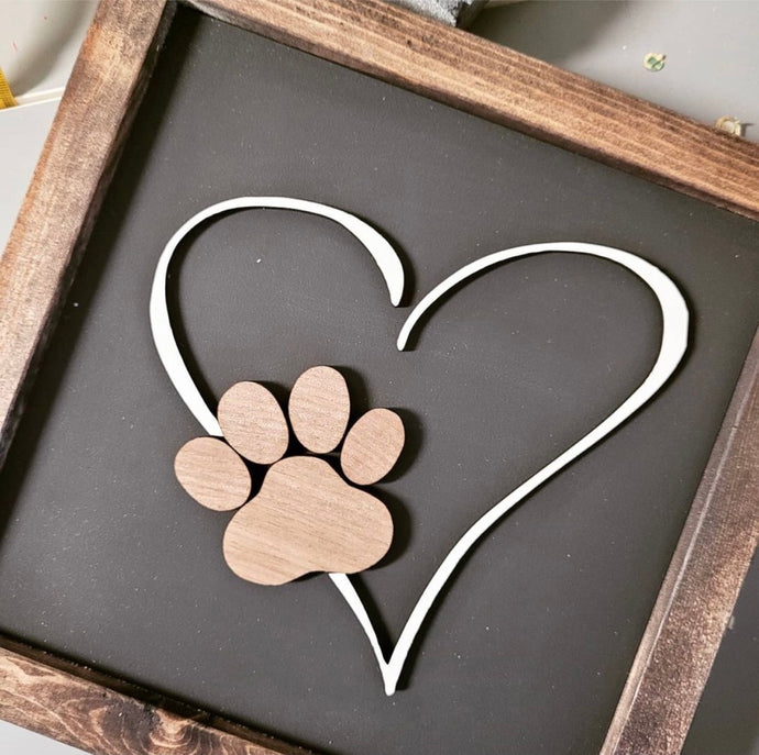 Heart Paw Print 3D Sign WTG-36