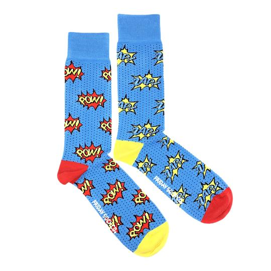 Mens POW ZAP Superhero Socks by Friday Sock Co FSC1