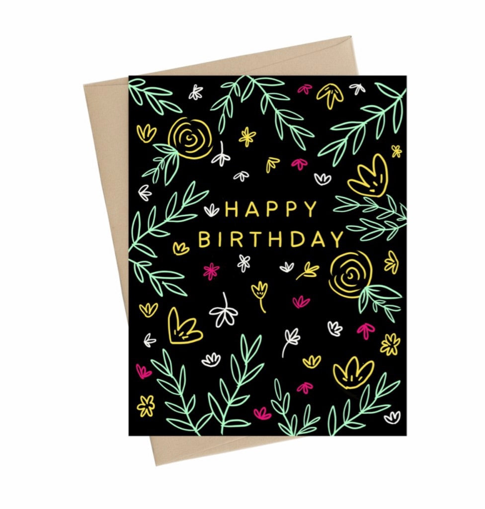 Happy Birthday Floral Sketch-  Little May Papery Greeting Cards LMP-01-12