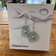 Load image into Gallery viewer, Keeping Afloat Blue Sea Glass Sea Star earring FFSSe