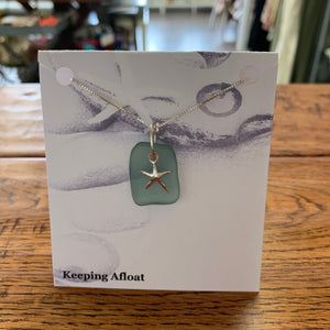 Keeping Afloat Blue Sea Glass Sea Star Necklace FFSSn
