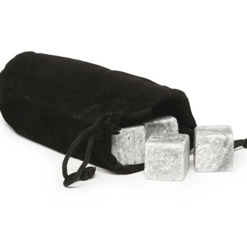 Black bag with grey whiskey ice stones