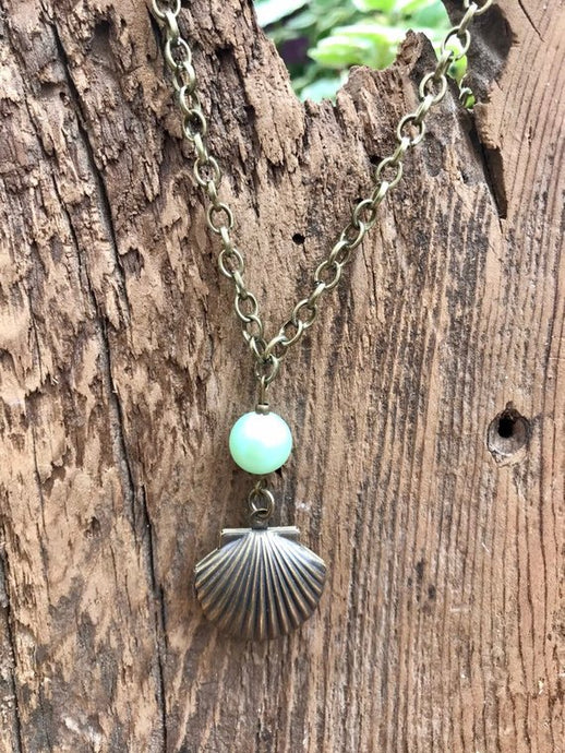 Hand Made Antiqued Brass Sea Shell Locket