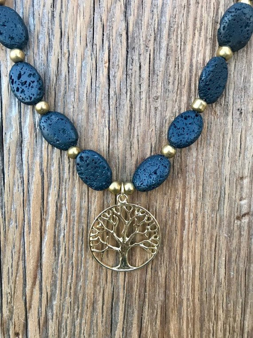 Tree of Life Lava Stone Necklace