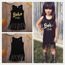 Load image into Gallery viewer, Toddler Kids Baby Girl Sleeveless Tassel Dress 0-5Y Black Printed Boho