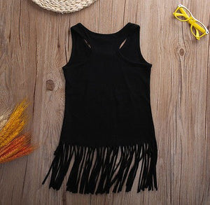 Toddler Kids Baby Girl Sleeveless Tassel Dress 0-5Y Black Printed Boho