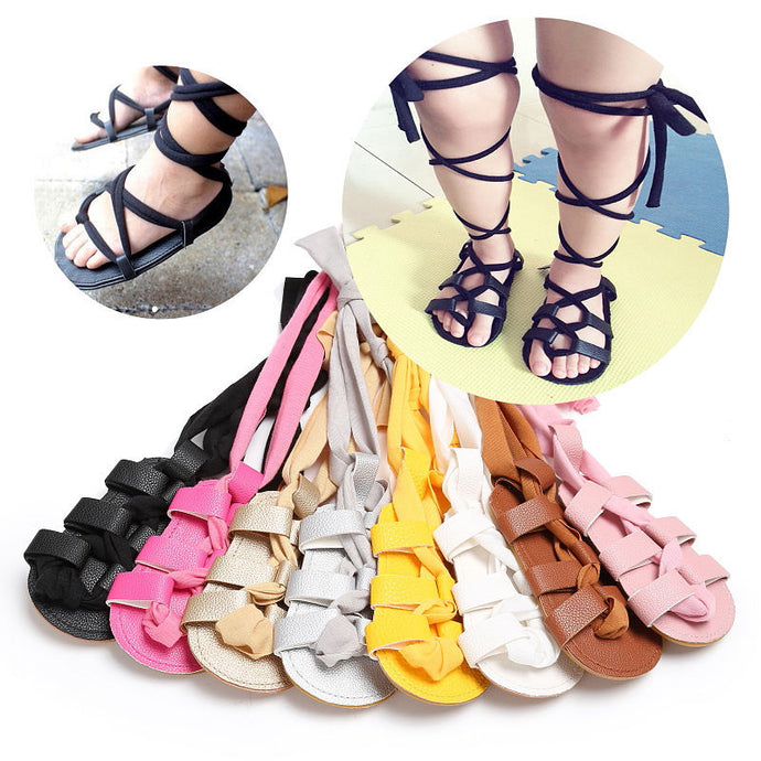 High-top fashion Roman girls sandals kids gladiator sandals toddler baby sandals Soft Flat Shoes