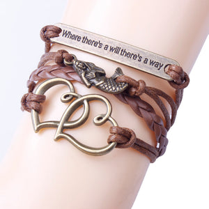 Mermaid Bracelet Vintage Bronze Rope Knit Heart