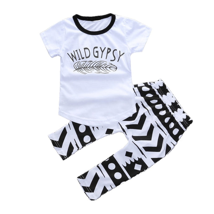 White Baby T-Shirt Pant Set Feather Wild Gypsy Toddler Outfit 100% Cotton Short Sleeve Top