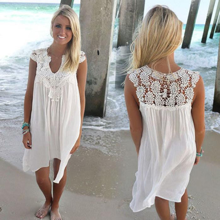 BOHO Sleeveless Womens Loose Summer Beach Lace Dress Beach Coverup