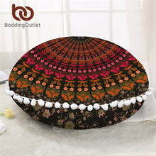 Load image into Gallery viewer, Mandala Round Floor Pillow Case Bohemian Cushion Cover Home Decor Poufs Floral Pillowcase Boho Pillow Cover 2 Size