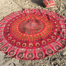 Load image into Gallery viewer, Peacock Print Red Boho Beach Blanket