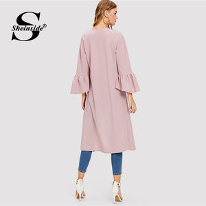 Ladies Sheinside Plain Bell Sleeve Elegant Duster Coat Ruffle Knee Length Outerwear Women Autumn